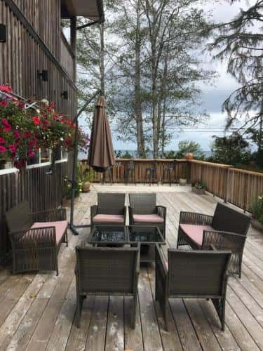 Deck at fishing lodge in Canada